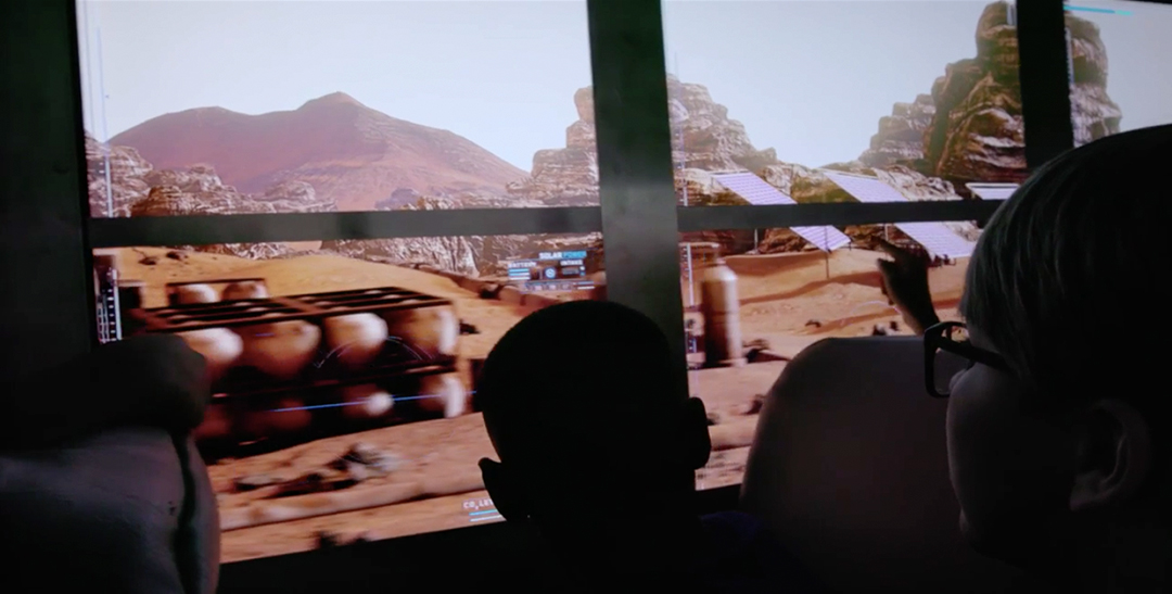 Field trip to mars group virtual reality children looking out the bus window