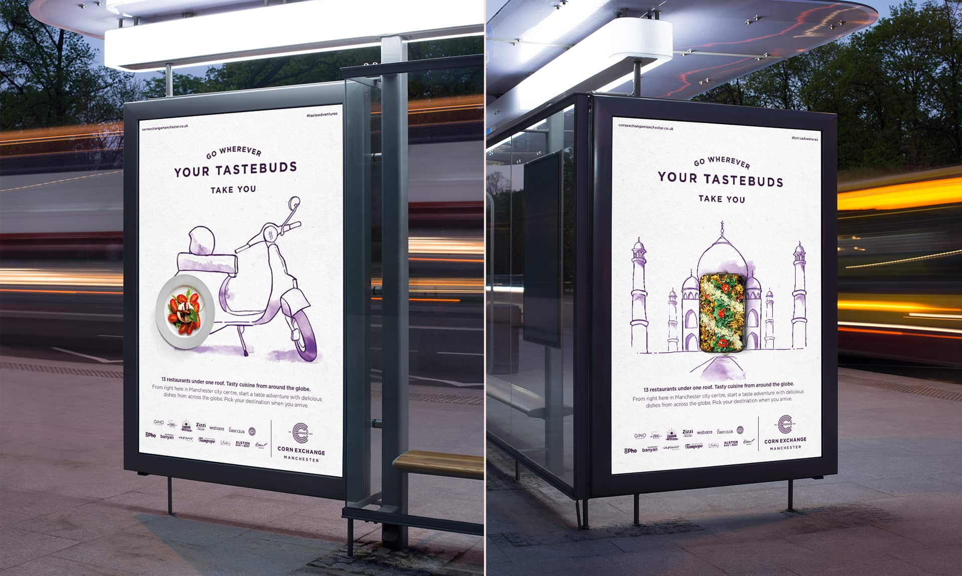 Integrated advertising campaign for Corn Exchange Manchester out of home advertising