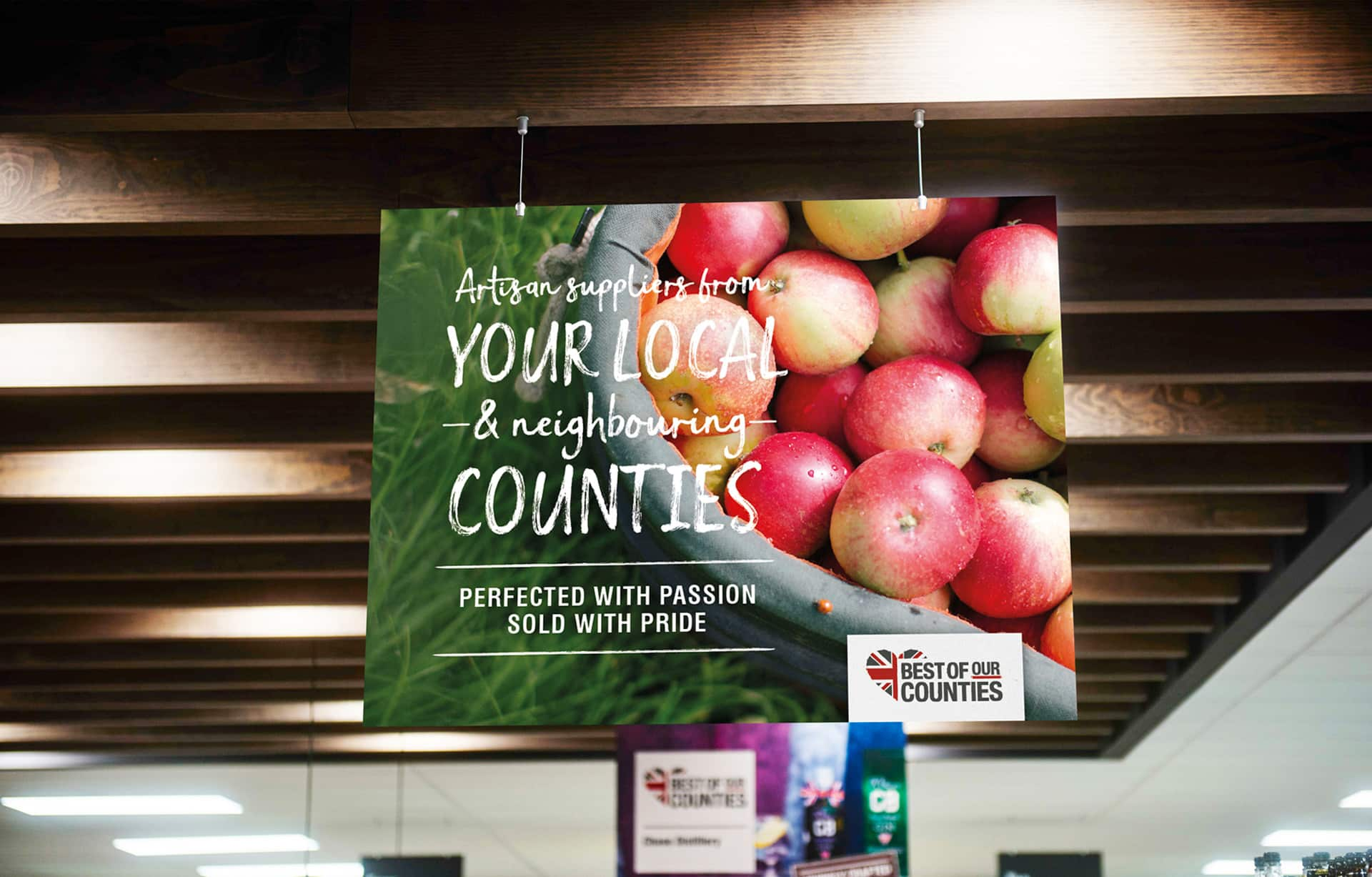 Shopper journey marketing, retail trends to premium food marketing In store POS hanging board food photography and design