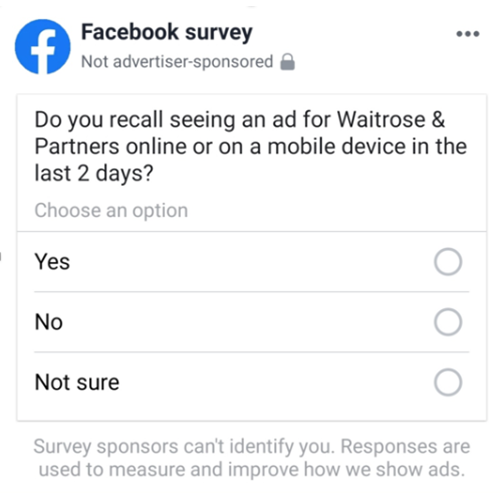 Facebook brand uplift study survey
